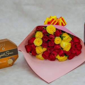 Mixed Red and Yellow Roses and Frontera Wine and Elizabeth Shaw -Salted Caramel Chocolate