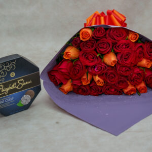 Mixed Roses Bouquet and Elizabeth Shaw Mint Dark Chocolate