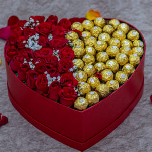 Passion Flower Box- with Red Roses, Baby Breath Flowers and Ferrero Rocher Chocolates
