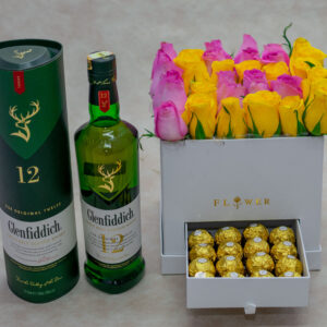 Pastel Flower Box-with Yellow and Pink Roses and Glenfiddich Whisky