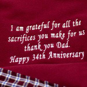 Personalised Dad's Anniversary Maasai Fleece Blanket
