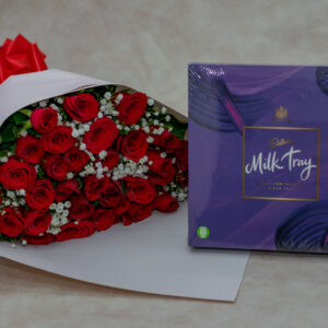 Red Roses and Baby Breath Flower Bouquet and Cadbury Milk Chocolate Tray