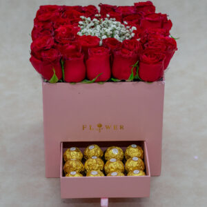 Serene Flower Box- with Red Roses and Baby Breath and Ferrero Rocher Chocolates
