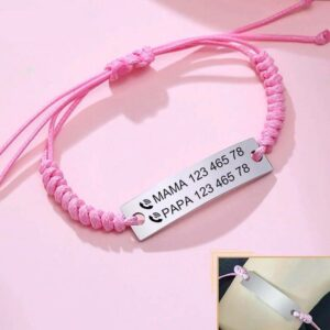 Stylish Engravable Stainless Steel thread Strapped Bracelet