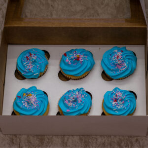 Vanilla Cupcakes with Blue Vanilla Frosting Personalised with your message-6 pieces