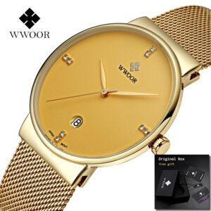 WWOOR 8018M Gold Stainless Steel Wrist Watch