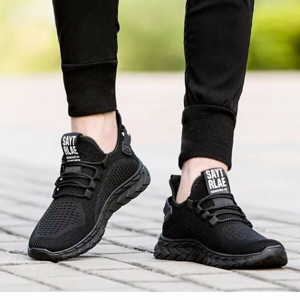 Black Lightweight Rubber-Sole Trainer Sneakers
