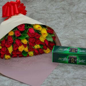 Mixed Roses Bouquet and After Eight Chocolate
