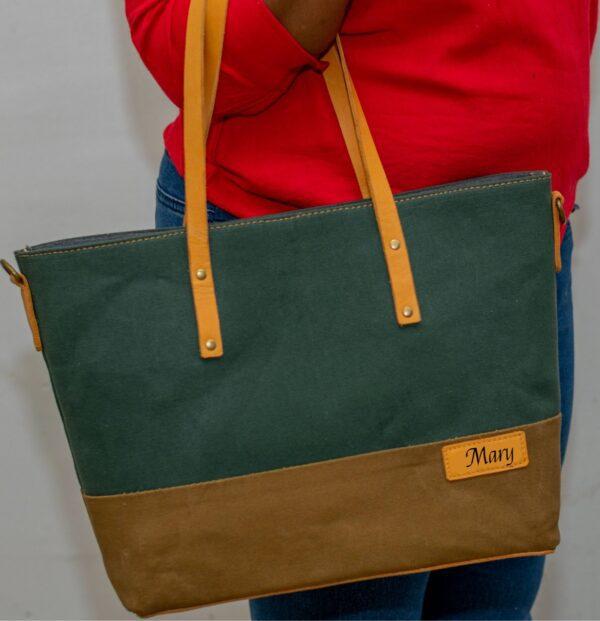 Personalised Handmade Canvas & Leather Handbag